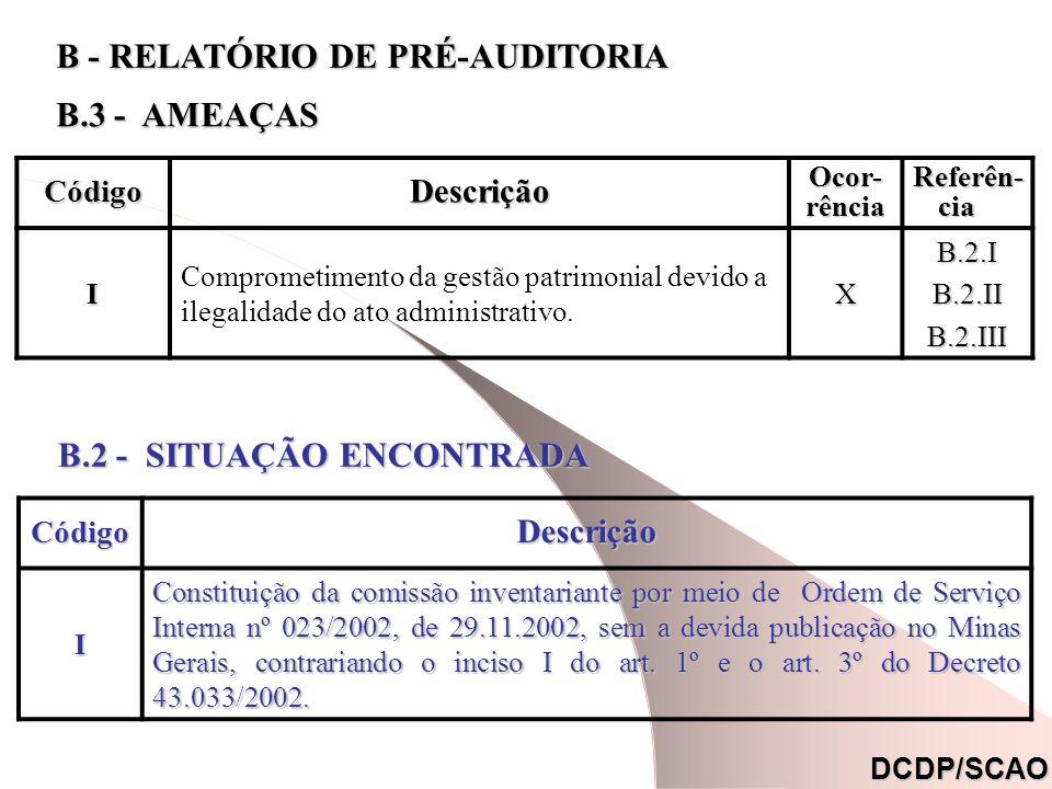 CódigoDescrição Ocor- rência Referên- cia Referên- cia. I Comprometimento da gestão patrimonial devido a ilegalidade do ato administrativo.XB.2.IB.2.I