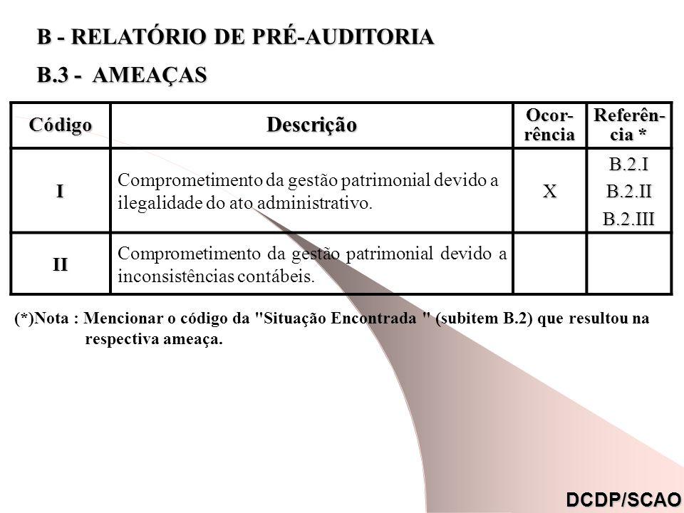 CódigoDescrição Ocor- rência Referên- cia * I Comprometimento da gestão patrimonial devido a ilegalidade do ato administrativo.XB.2.IB.2.IIB.2.III II