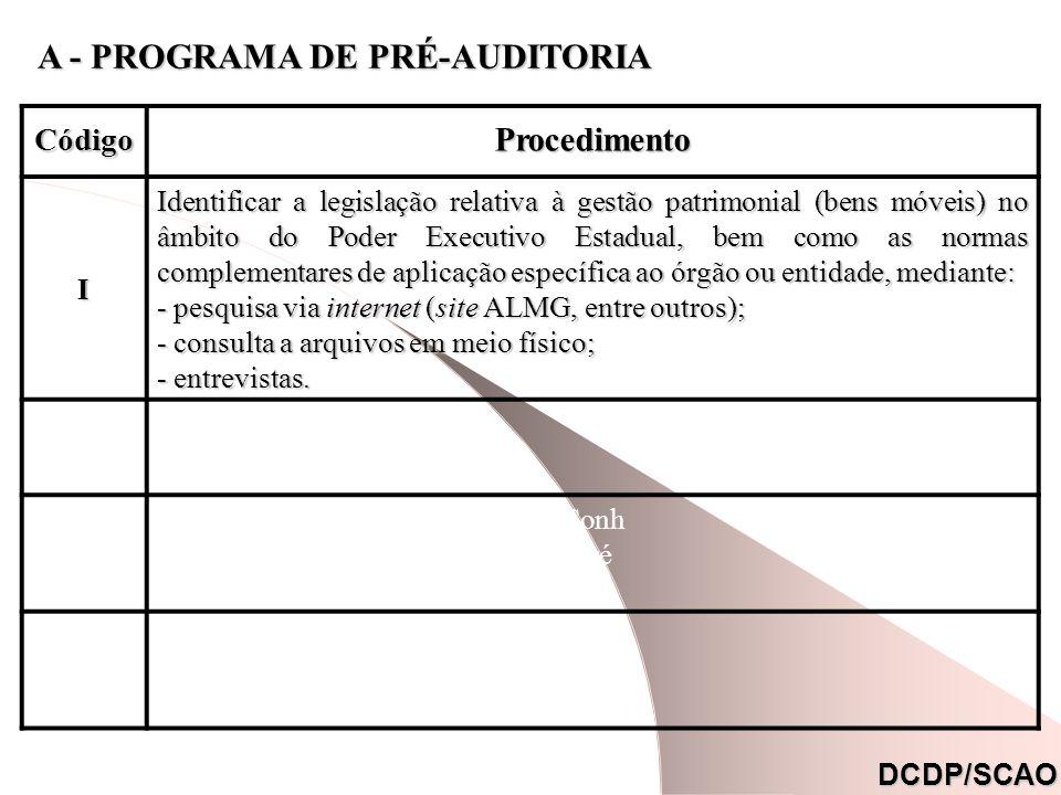 CódigoDescrição Ocor- rência Referên- cia * I Comprometimento da gestão patrimonial devido a ilegalidade do ato administrativo.XB.2.IB.2.IIB.2.III II Comprometimento da gestão patrimonial devido a inconsistências contábeis.XB.2.IV DCDP/SCAO B.3 - AMEAÇAS B - RELATÓRIO DE PRÉ-AUDITORIA (*)Nota : Mencionar o código da Situação Encontrada (subitem B.2) que resultou na respectiva ameaça.