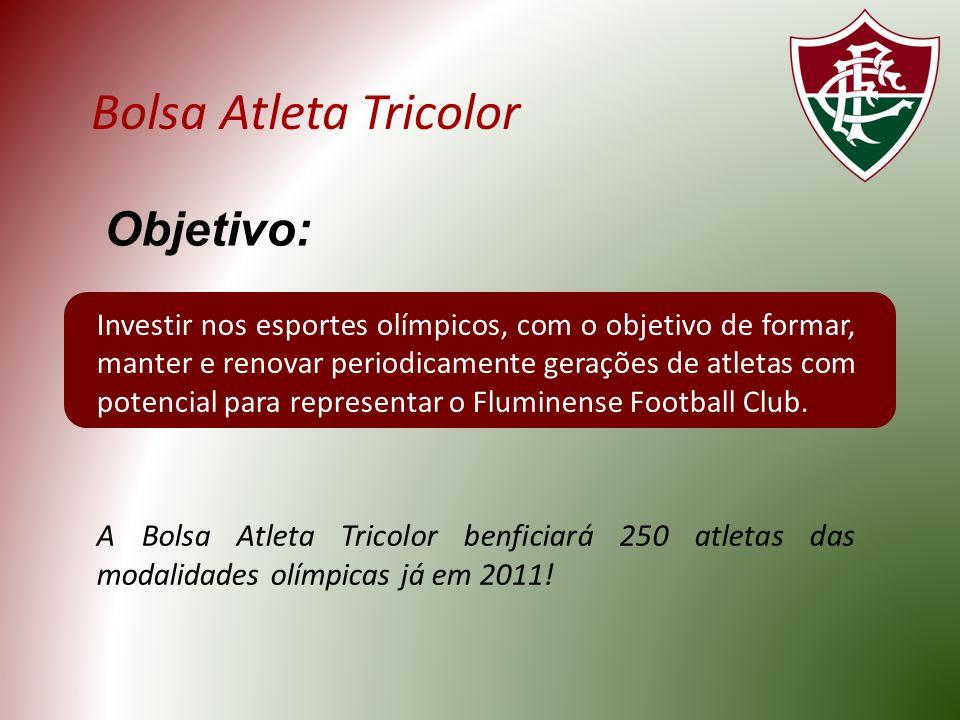 Bolsa Atleta Tricolor Investir nos esportes olímpicos, com o objetivo de formar, manter e renovar periodicamente gerações de atletas com potencial para representar o Fluminense Football Club.