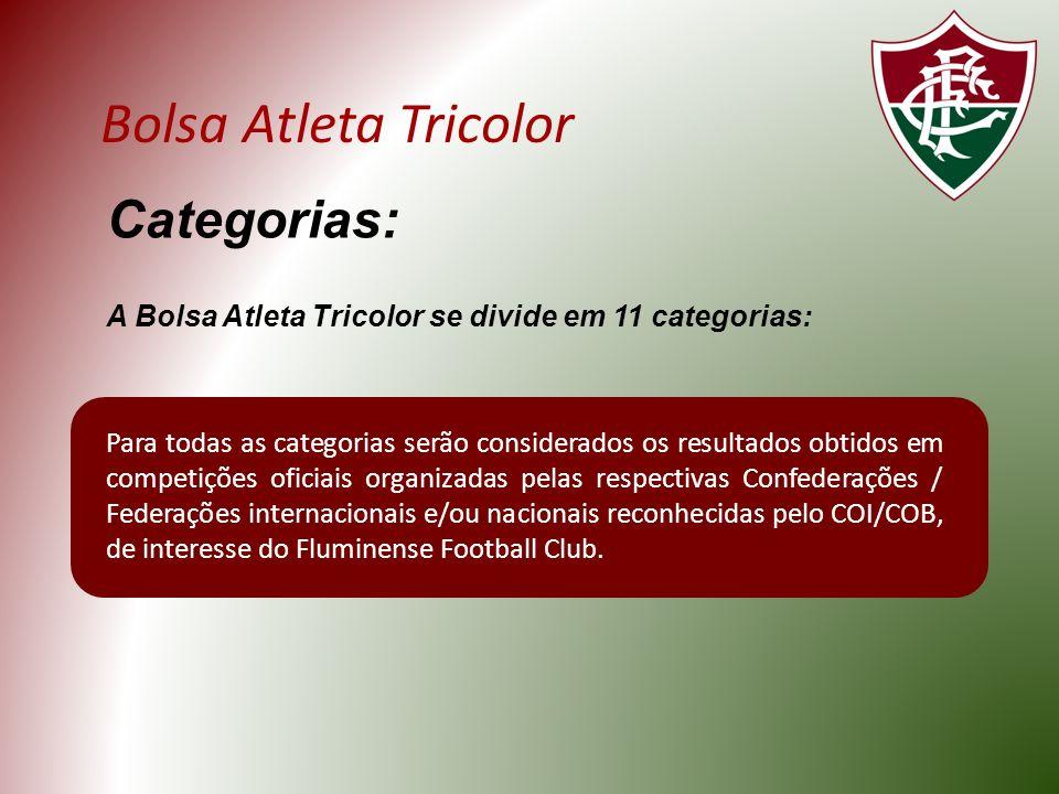 Bolsa Atleta Tricolor Categorias: A Bolsa Atleta Tricolor se divide em 11 categorias: Para todas as categorias serão considerados os resultados obtidos em competições oficiais organizadas pelas respectivas Confederações / Federações internacionais e/ou nacionais reconhecidas pelo COI/COB, de interesse do Fluminense Football Club.