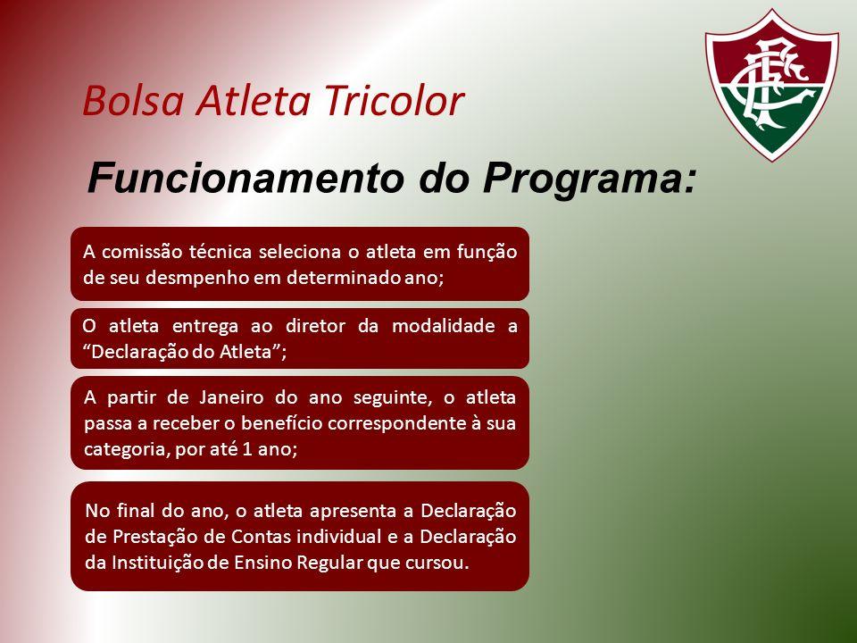 Bolsa Atleta Tricolor Funcionamento do Programa: A comissão técnica seleciona o atleta em função de seu desmpenho em determinado ano; O atleta entrega