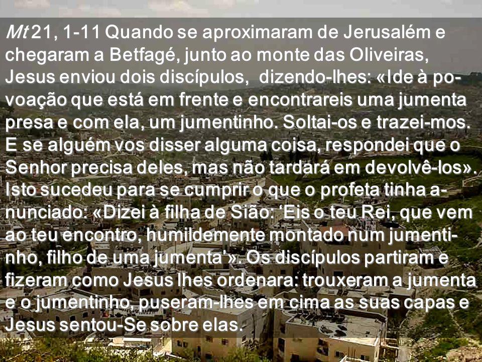 Mt 21, 1-11 Quando se aproximaram de Jerusalém e chegaram a Betfagé, junto ao monte das Oliveiras, Jesus enviou dois discípulos, dizendo-lhes: «Ide à po- voação que está em frente e encontrareis uma jumenta presa e com ela, um jumentinho.