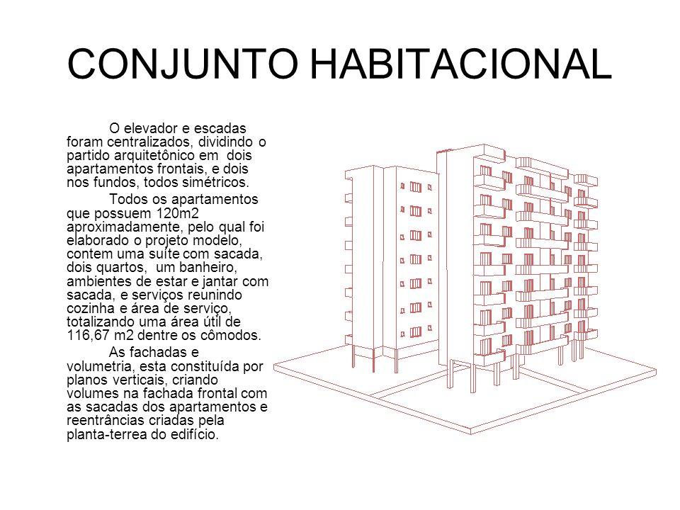 CONJUNTO HABITACIONAL O elevador e escadas foram centralizados, dividindo o partido arquitetônico em dois apartamentos frontais, e dois nos fundos, todos simétricos.