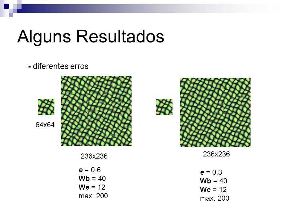 Alguns Resultados 236x236 e = 0.3 Wb = 40 We = 12 max: 200 64x64 236x236 e = 0.6 Wb = 40 We = 12 max: 200 - diferentes erros