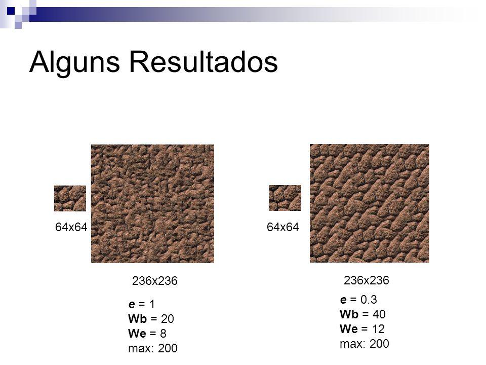 Alguns Resultados 64x64 236x236 e = 1 Wb = 20 We = 8 max: 200 64x64 236x236 e = 0.3 Wb = 40 We = 12 max: 200
