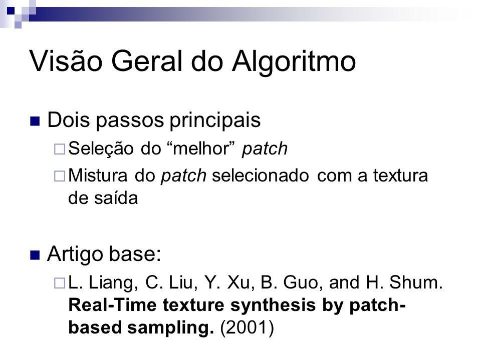 Visão Geral do Algoritmo Dois passos principais Seleção do melhor patch Mistura do patch selecionado com a textura de saída Artigo base: L.