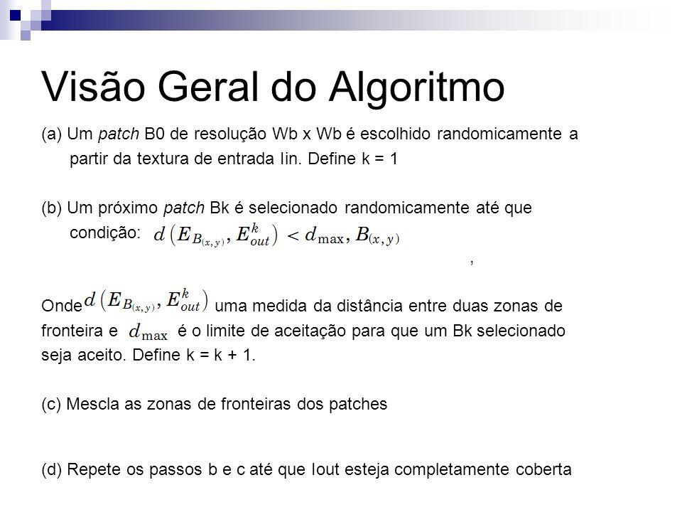 Visão Geral do Algoritmo (a) Um patch B0 de resolução Wb x Wb é escolhido randomicamente a partir da textura de entrada Iin.