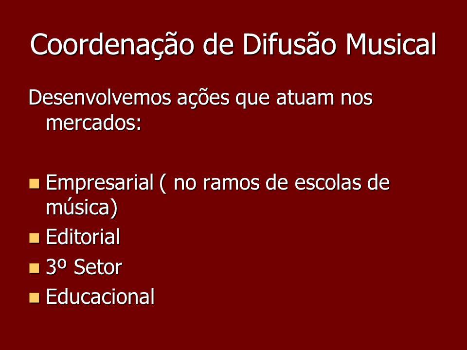Coordenação de Difusão Musical Desenvolvemos ações que atuam nos mercados: Empresarial ( no ramos de escolas de música) Empresarial ( no ramos de esco