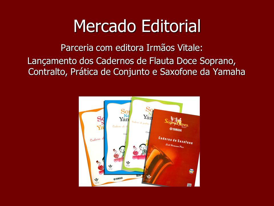 Mercado Editorial Parceria com editora Irmãos Vitale: Lançamento dos Cadernos de Flauta Doce Soprano, Contralto, Prática de Conjunto e Saxofone da Yam