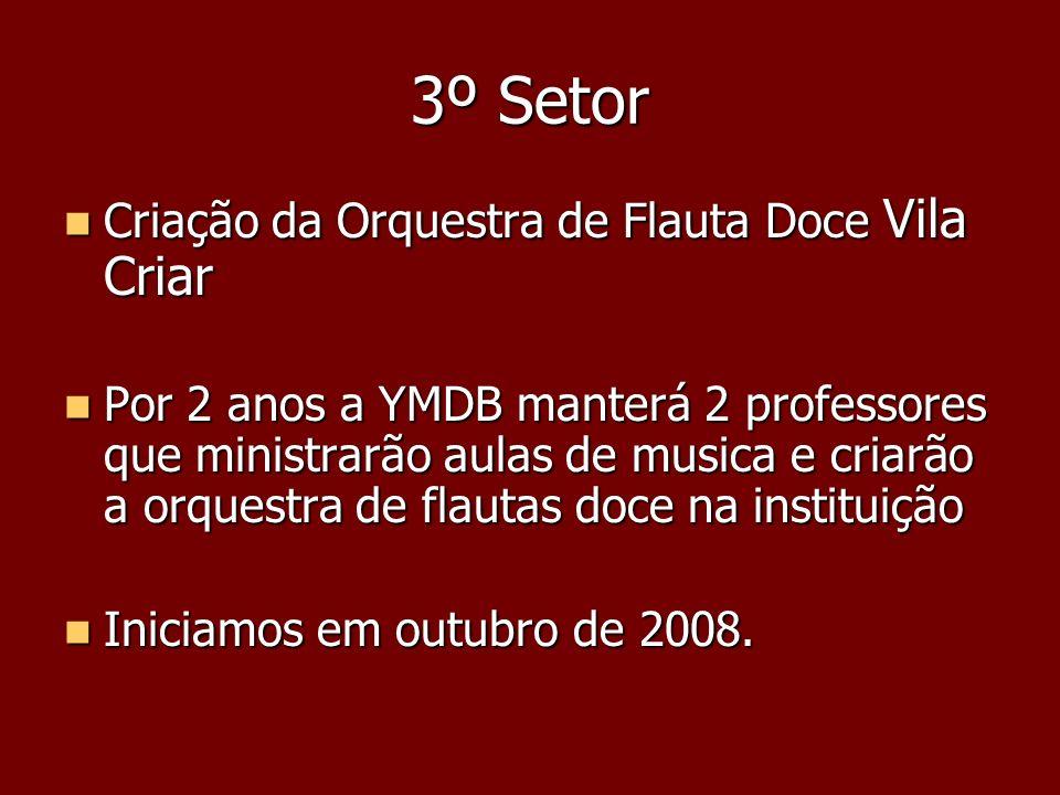 3º Setor Criação da Orquestra de Flauta Doce Vila Criar Criação da Orquestra de Flauta Doce Vila Criar Por 2 anos a YMDB manterá 2 professores que min