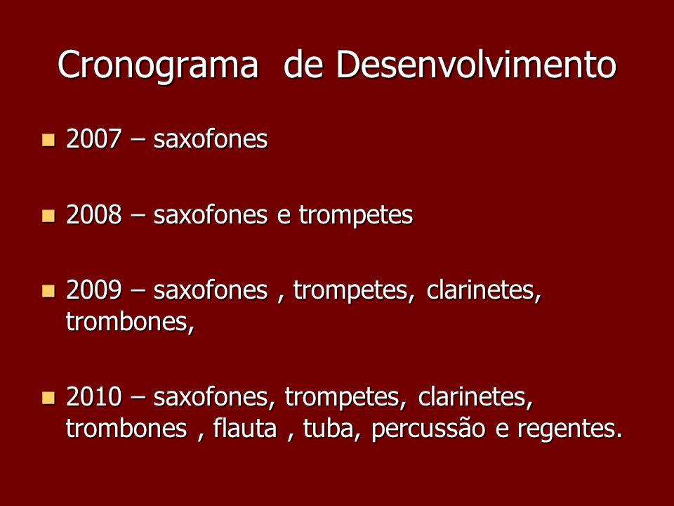Cronograma de Desenvolvimento 2007 – saxofones 2007 – saxofones 2008 – saxofones e trompetes 2008 – saxofones e trompetes 2009 – saxofones, trompetes,