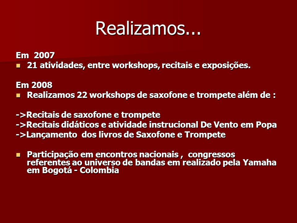Realizamos... Em 2007 21 atividades, entre workshops, recitais e exposições. 21 atividades, entre workshops, recitais e exposições. Em 2008 Realizamos