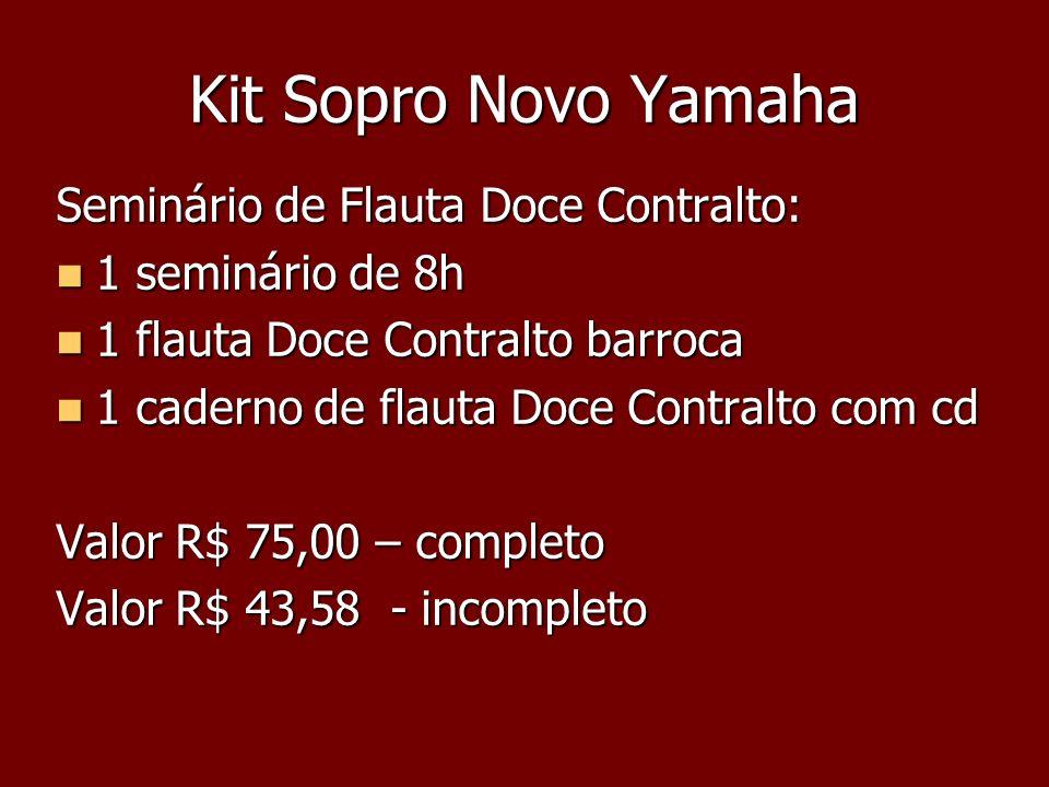 Kit Sopro Novo Yamaha Seminário de Flauta Doce Contralto: 1 seminário de 8h 1 seminário de 8h 1 flauta Doce Contralto barroca 1 flauta Doce Contralto