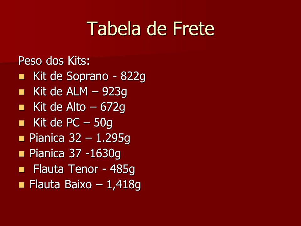 Tabela de Frete Peso dos Kits: Kit de Soprano - 822g Kit de Soprano - 822g Kit de ALM – 923g Kit de ALM – 923g Kit de Alto – 672g Kit de Alto – 672g K