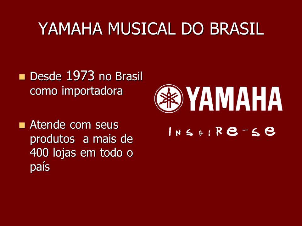YAMAHA MUSICAL DO BRASIL Desde 1973 no Brasil como importadora Desde 1973 no Brasil como importadora Atende com seus produtos a mais de 400 lojas em t
