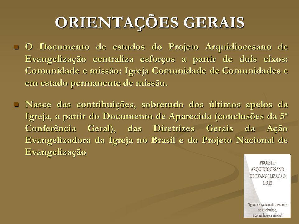 ORIENTAÇÕES GERAIS O Documento de estudos do Projeto Arquidiocesano de Evangelização centraliza esforços a partir de dois eixos: Comunidade e missão:
