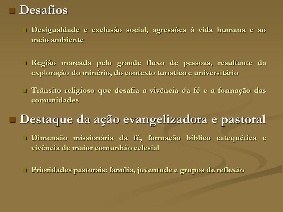 REGIÃO SUL Abrange dezenove municípios, três foranias e trinta e uma paróquias, marcada pela agricultura e pecuária, com áreas de expansão urbana, sem grandes indústrias