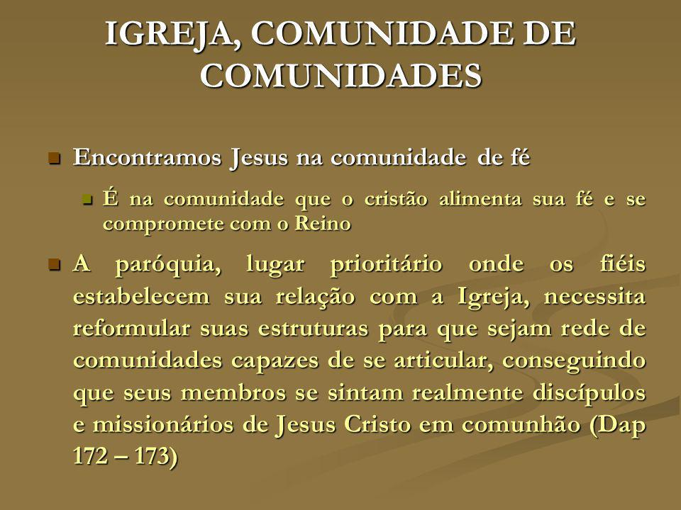 IGREJA, COMUNIDADE DE COMUNIDADES Encontramos Jesus na comunidade de fé Encontramos Jesus na comunidade de fé É na comunidade que o cristão alimenta s
