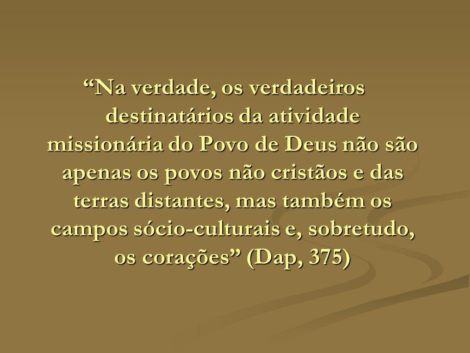 Na verdade, os verdadeiros destinatários da atividade missionária do Povo de Deus não são apenas os povos não cristãos e das terras distantes, mas tam