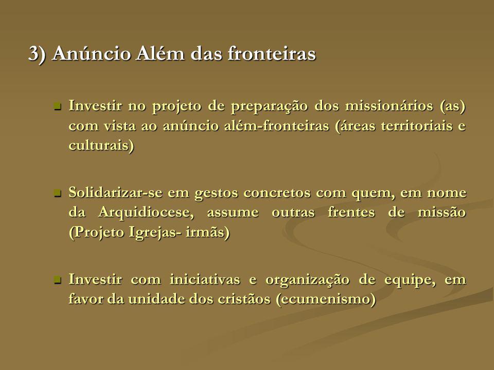 3) Anúncio Além das fronteiras Investir no projeto de preparação dos missionários (as) com vista ao anúncio além-fronteiras (áreas territoriais e cult