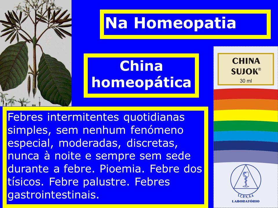 China homeopática Febres intermitentes quotidianas simples, sem nenhum fenómeno especial, moderadas, discretas, nunca à noite e sempre sem sede durante a febre.
