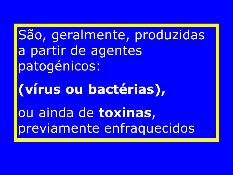 São, geralmente, produzidas a partir de agentes patogénicos: (vírus ou bactérias), ou ainda de toxinas, previamente enfraquecidos