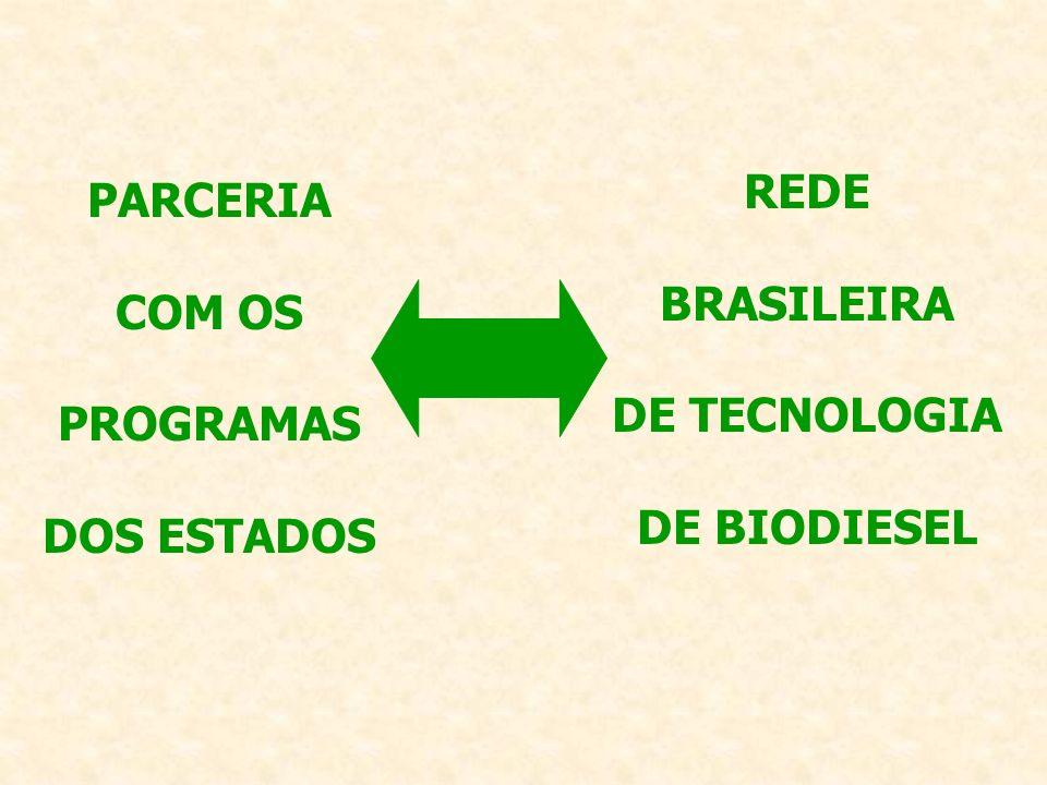 PARCERIA COM OS PROGRAMAS DOS ESTADOS REDE BRASILEIRA DE TECNOLOGIA DE BIODIESEL
