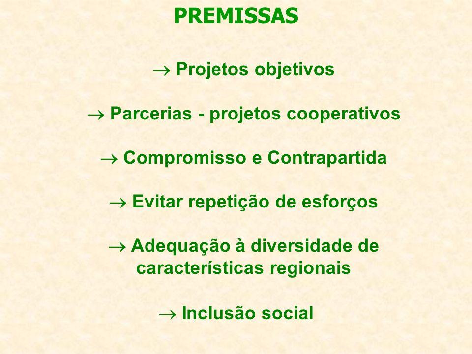 Inclusão social PREMISSAS Projetos objetivos Parcerias - projetos cooperativos Compromisso e Contrapartida Evitar repetição de esforços Adequação à diversidade de características regionais
