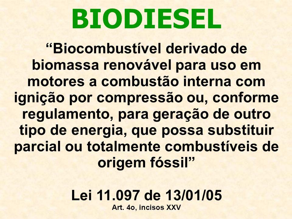 Biocombustível derivado de biomassa renovável para uso em motores a combustão interna com ignição por compressão ou, conforme regulamento, para geração de outro tipo de energia, que possa substituir parcial ou totalmente combustíveis de origem fóssil Lei 11.097 de 13/01/05 Art.