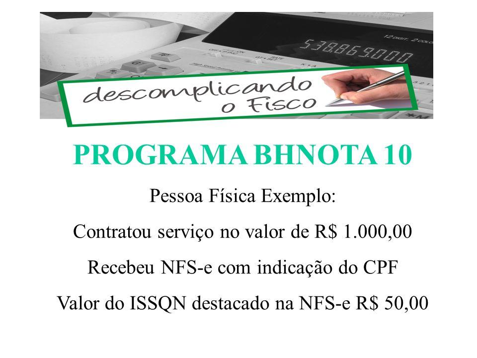 PROGRAMA BHNOTA 10 Pessoa Física Exemplo: Contratou serviço no valor de R$ 1.000,00 Recebeu NFS-e com indicação do CPF Valor do ISSQN destacado na NFS-e R$ 50,00 ESCOMPLICANDO O FISCO