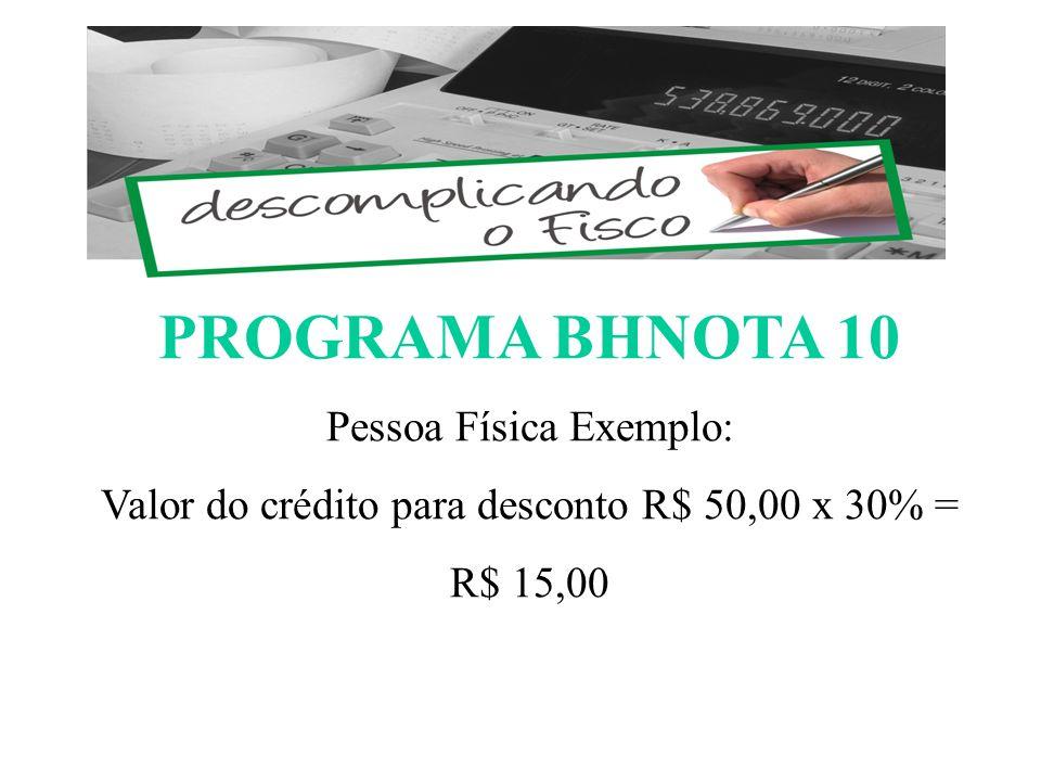 PROGRAMA BHNOTA 10 Pessoa Física Exemplo: Valor do crédito para desconto R$ 50,00 x 30% = R$ 15,00 ESCOMPLICANDO O FISCO