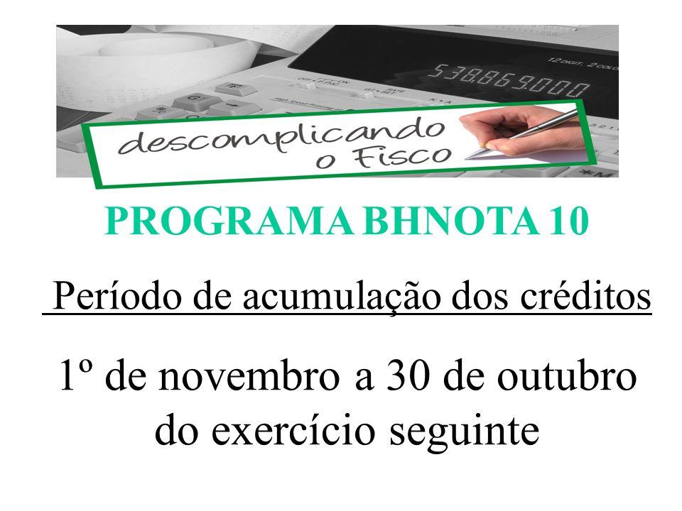 PROGRAMA BHNOTA 10 Período de acumulação dos créditos 1º de novembro a 30 de outubro do exercício seguinte ESCOMPLICANDO O FISCO