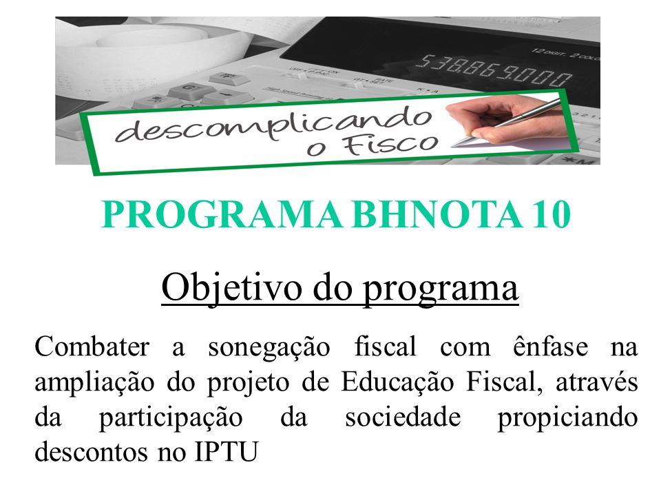 PROGRAMA BHNOTA 10 Objetivo do programa Combater a sonegação fiscal com ênfase na ampliação do projeto de Educação Fiscal, através da participação da sociedade propiciando descontos no IPTU ESCOMPLICANDO O FISCO