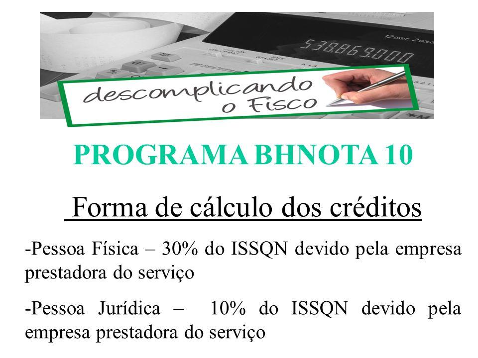 PROGRAMA BHNOTA 10 Forma de cálculo dos créditos -Pessoa Física – 30% do ISSQN devido pela empresa prestadora do serviço -Pessoa Jurídica – 10% do ISSQN devido pela empresa prestadora do serviço ESCOMPLICANDO O FISCO