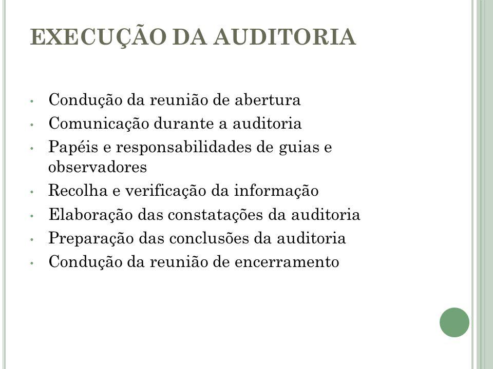 EXECUÇÃO DA AUDITORIA Condução da reunião de abertura Comunicação durante a auditoria Papéis e responsabilidades de guias e observadores Recolha e ver