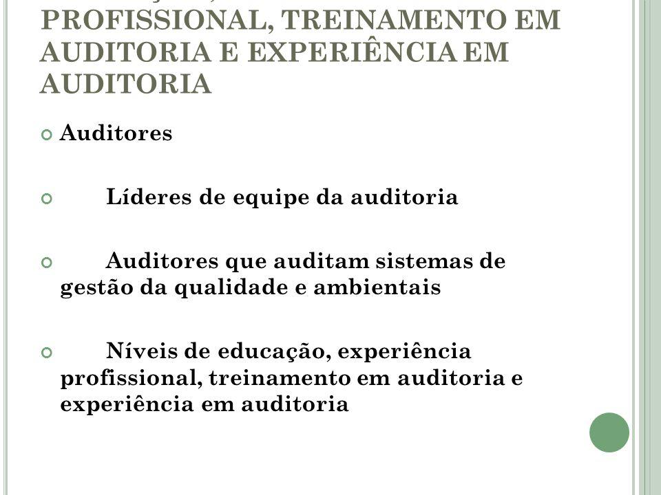 EDUCAÇÃO, EXPERIÊNCIA PROFISSIONAL, TREINAMENTO EM AUDITORIA E EXPERIÊNCIA EM AUDITORIA Auditores Líderes de equipe da auditoria Auditores que auditam