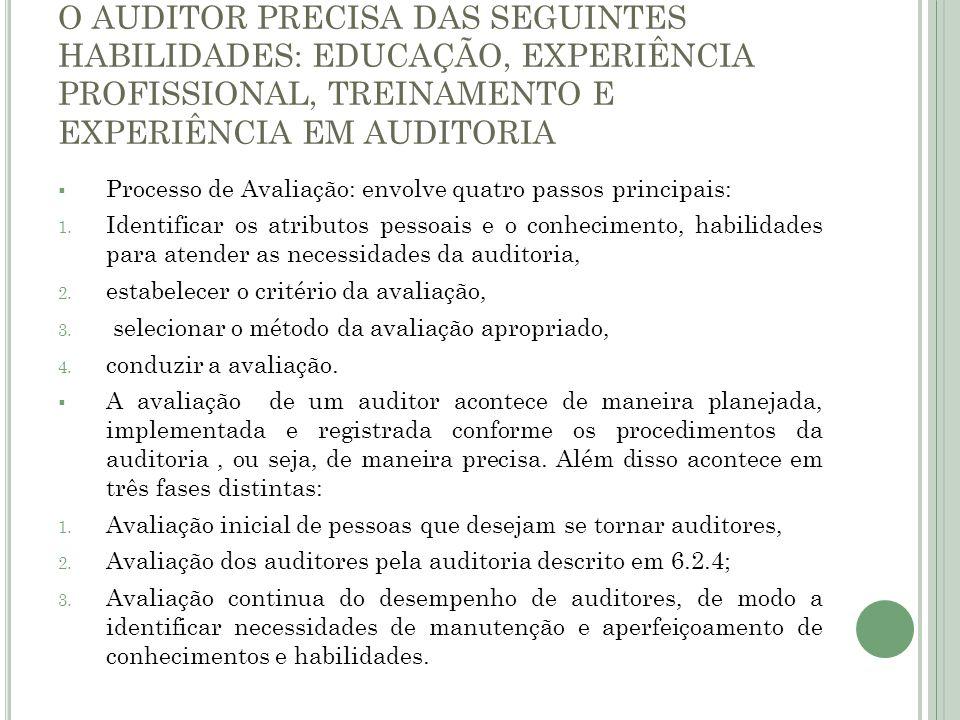 O AUDITOR PRECISA DAS SEGUINTES HABILIDADES: EDUCAÇÃO, EXPERIÊNCIA PROFISSIONAL, TREINAMENTO E EXPERIÊNCIA EM AUDITORIA Processo de Avaliação: envolve