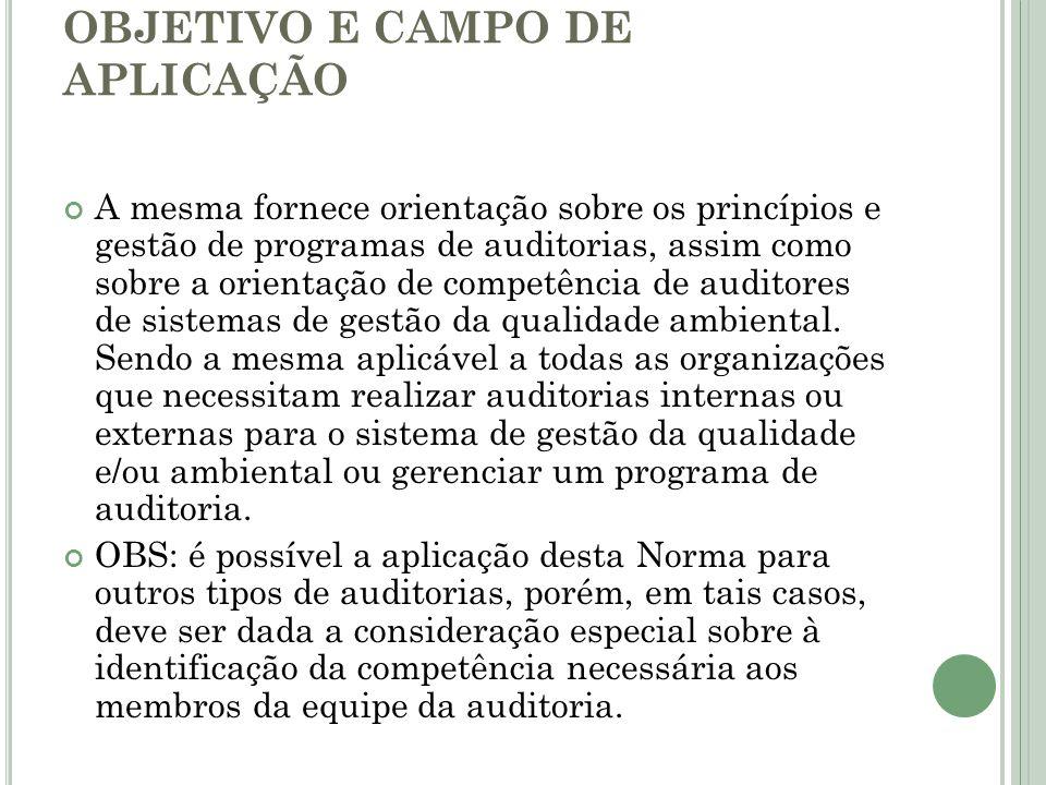 OBJETIVO E CAMPO DE APLICAÇÃO A mesma fornece orientação sobre os princípios e gestão de programas de auditorias, assim como sobre a orientação de com