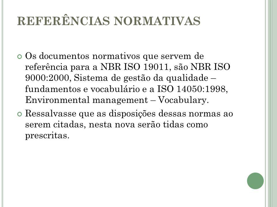 REFERÊNCIAS NORMATIVAS Os documentos normativos que servem de referência para a NBR ISO 19011, são NBR ISO 9000:2000, Sistema de gestão da qualidade –