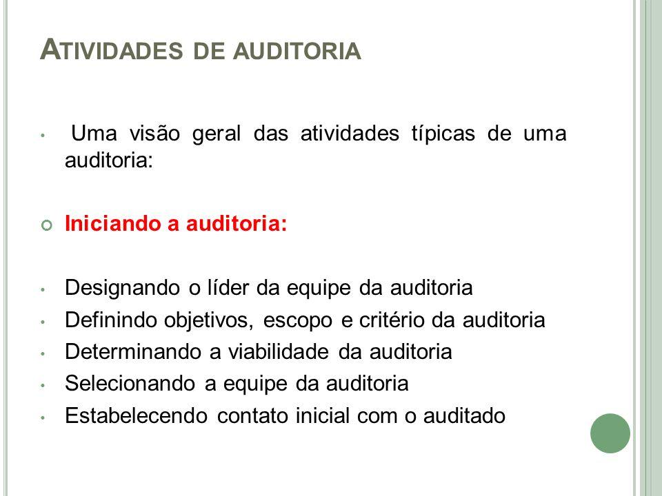 A TIVIDADES DE AUDITORIA Uma visão geral das atividades típicas de uma auditoria: Iniciando a auditoria: Designando o líder da equipe da auditoria Def