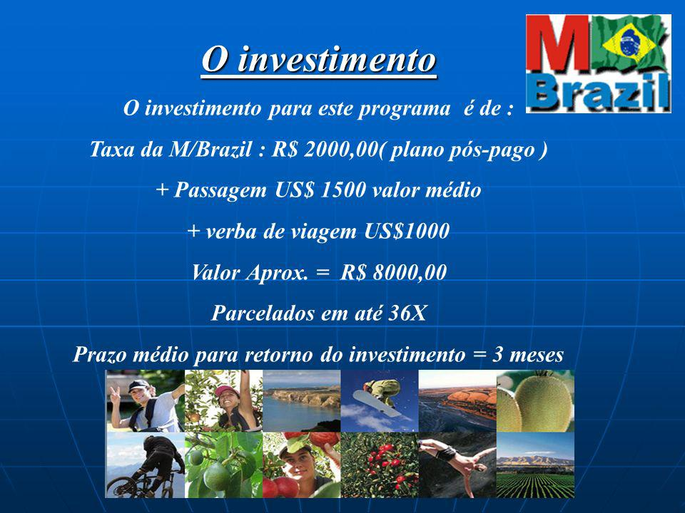 O investimento O investimento para este programa é de : Taxa da M/Brazil : R$ 2000,00( plano pós-pago ) + Passagem US$ 1500 valor médio + verba de via