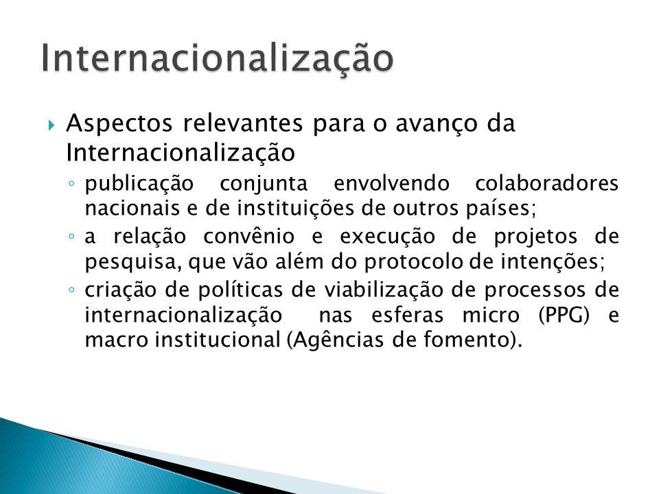 Aspectos relevantes para o avanço da Internacionalização publicação conjunta envolvendo colaboradores nacionais e de instituições de outros países; a relação convênio e execução de projetos de pesquisa, que vão além do protocolo de intenções; criação de políticas de viabilização de processos de internacionalização nas esferas micro (PPG) e macro institucional (Agências de fomento).