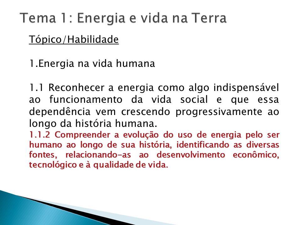 Tópico/Habilidade 1.Energia na vida humana 1.1 Reconhecer a energia como algo indispensável ao funcionamento da vida social e que essa dependência vem
