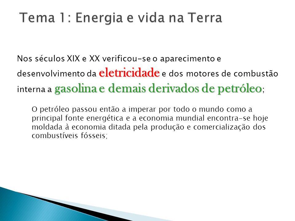 eletricidade gasolina e demais derivados de petróleo Nos séculos XIX e XX verificou-se o aparecimento e desenvolvimento da eletricidade e dos motores