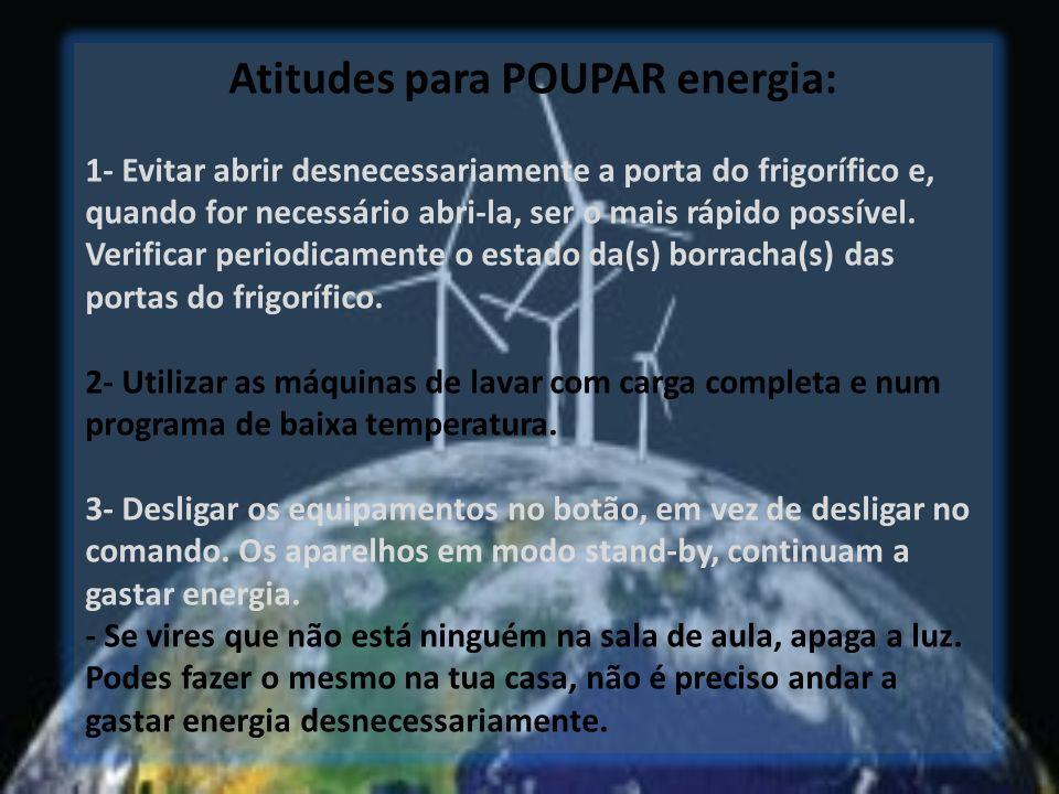 Atitudes para POUPAR energia: 1- Evitar abrir desnecessariamente a porta do frigorífico e, quando for necessário abri-la, ser o mais rápido possível.