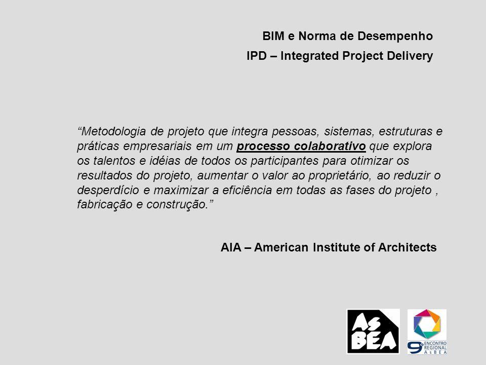 BIM e Norma de Desempenho IPD – Integrated Project Delivery Metodologia de projeto que integra pessoas, sistemas, estruturas e práticas empresariais e