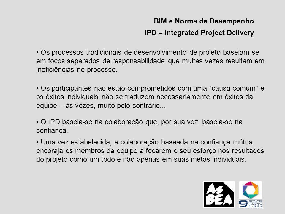 BIM e Norma de Desempenho IPD – Integrated Project Delivery Os processos tradicionais de desenvolvimento de projeto baseiam-se em focos separados de r