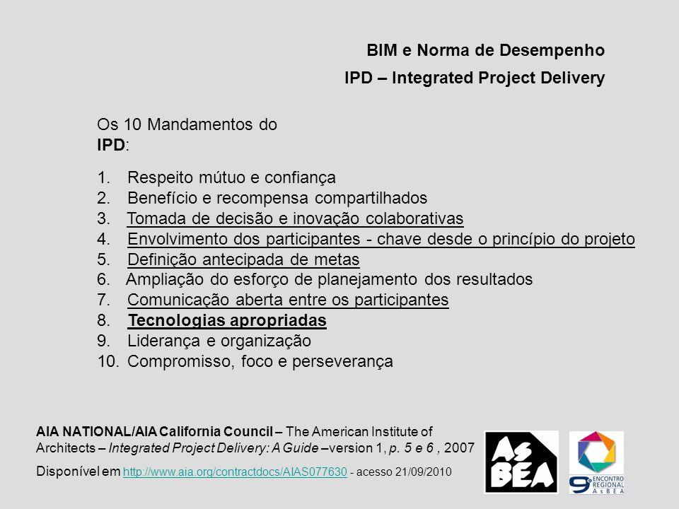 BIM e Norma de Desempenho IPD – Integrated Project Delivery Os 10 Mandamentos do IPD: 1. Respeito mútuo e confiança 2. Benefício e recompensa comparti