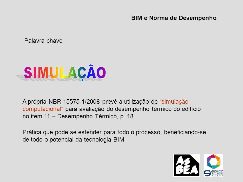 Palavra chave A própria NBR 15575-1/2008 prevê a utilização de simulação computacional para avaliação do desempenho térmico do edifício no item 11 – D